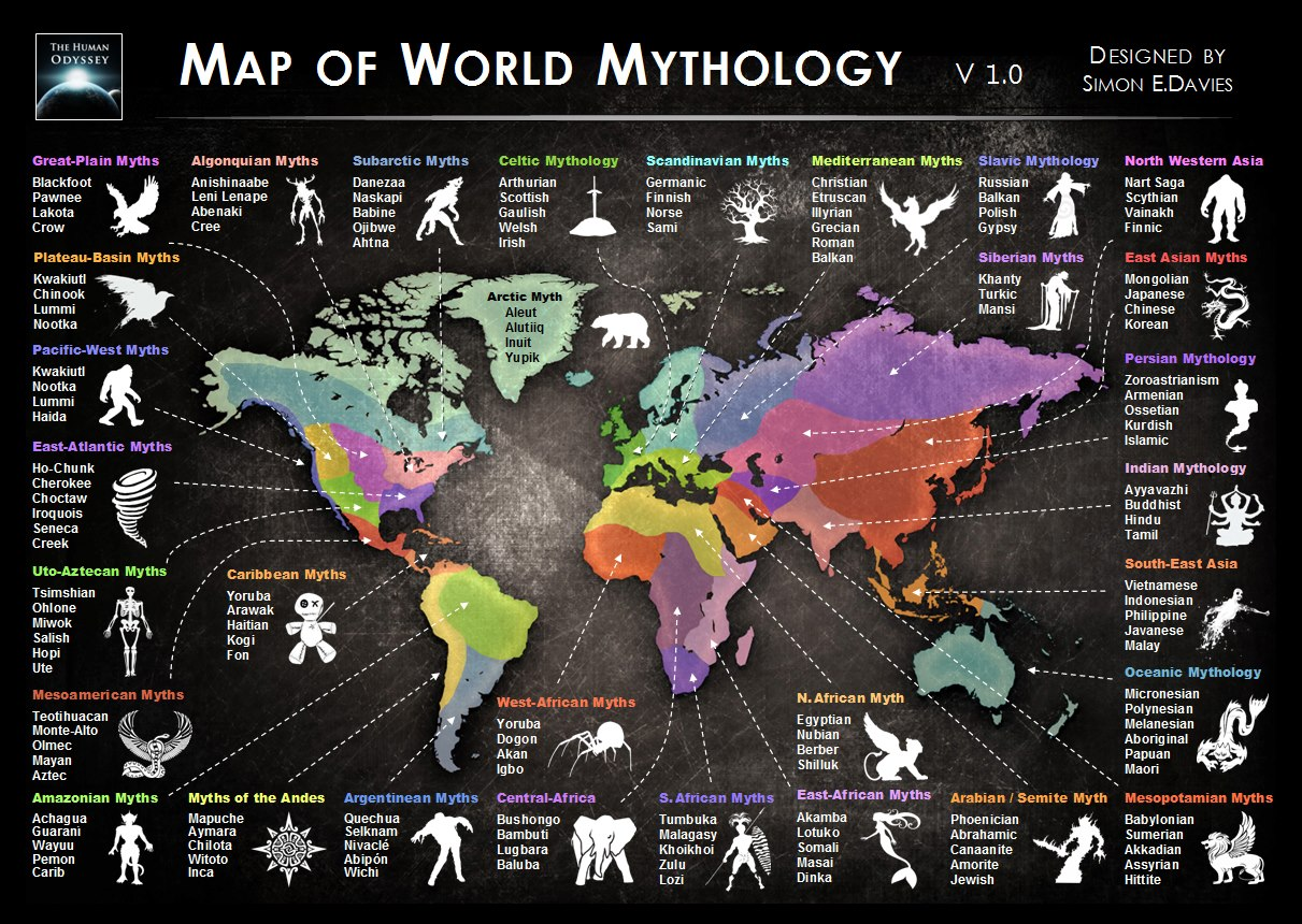 A Map Of World Mythology Metal Gaia